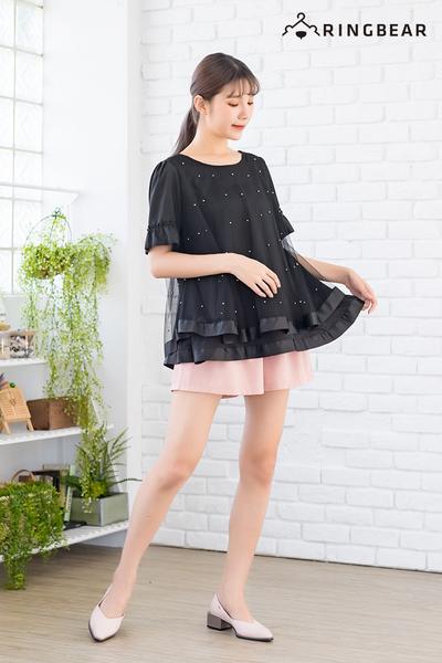 寬版上衣--韓版浪漫釘珠娃娃裝荷葉袖雙層下襬寬鬆上衣(黑L-3L)-U517眼圈熊中大尺碼
