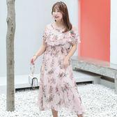 中大尺碼~甜美一字肩雪紡短袖洋裝(XL~4XL)