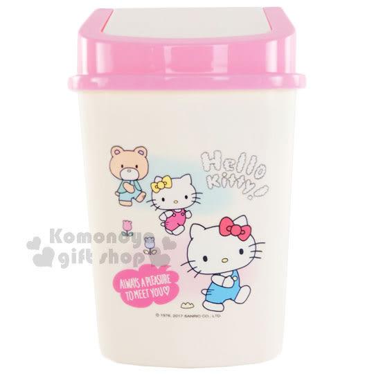 〔小禮堂〕Hello Kitty 平衡蓋垃圾桶《白.粉蓋.小熊.花朵.方型》桌上型 4712977-46345