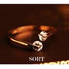 戒指 簡約百搭精緻雙鑽轉運開口式戒指【1DDR0022】