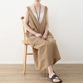 洋裝-長款寬版不規則大口袋條紋V領背心裙女連身裙73sm56[巴黎精品]