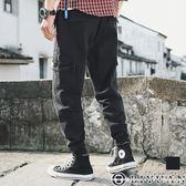 【OBIYUAN】翻蓋 大口袋 修身 抽繩束口褲 工作褲 共1色【Y0715】