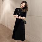 2021新款女連身裙 法式黑色雪紡連衣裙子 復古小眾連體裙 純色 黑色裙子 圖拉斯3C百貨