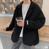 西裝外套痞帥百搭休閒西裝外套男港風復古韓版潮流寬鬆小西服夏季薄款上衣 伊蒂斯