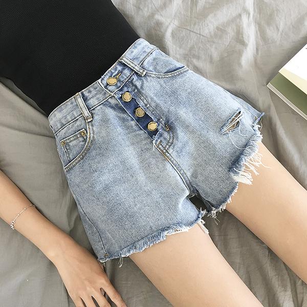 春季新品女装单排扣破洞毛边高腰宽松显瘦学生牛仔寬短裤女热裤