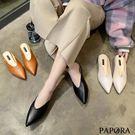 PAPORA尖頭深V穆勒鞋KQ3228黑/棕/米(偏小)