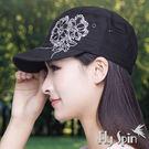潮帽子-女款防曬新潮花朵燙鑽軍人帽遮陽軍帽平頂帽13SS-W063 FLY SPIN