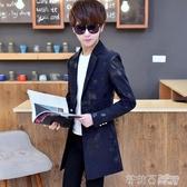 小西裝男韓版中長款外套青少年學生印花修身帥氣上衣男士休閒西服 茱莉亞