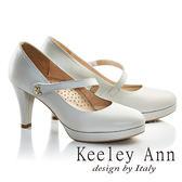 ★2017春夏★Keeley Ann氣質甜美~蝴蝶結飾釦全真皮瑪莉珍高跟鞋(淺灰色)