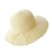 草帽-可摺疊草編蝴蝶結波浪邊女遮陽帽5色73vf51[時尚巴黎]