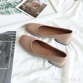 方頭鞋單鞋女淺口低跟粗跟奶奶鞋復古風裸粉色仙女矮跟上班鞋四季鞋 科炫數位