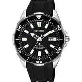 CITIZEN 星辰 PROMASTER 鈦 光動能200米潛水錶-黑膠帶/43.5mm BN0200-13E