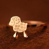 玫瑰金純銀戒指-正韓流行可愛銅錢小羊生日情人節禮物女飾品71am70【巴黎精品】