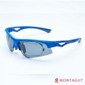 太陽眼鏡專業運動款 夢特嬌 藍框灰邊