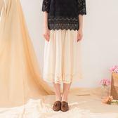 【衣大樂事】棉麻剪接蕾絲裙褲