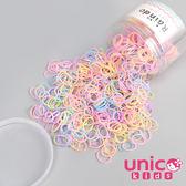 UNICO 兒童 少髮量高彈力加厚款800條彩色橡皮筋/橡皮圈罐裝-果凍色