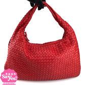 【奢華時尚】秒殺推薦!BOTTEGA VENETA 玫瑰紅色編織羊皮肩背中型和尚包(八五成新)#22058
