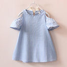 兒童女童寶寶韓版露肩涼爽線條條紋連身裙。藍白
