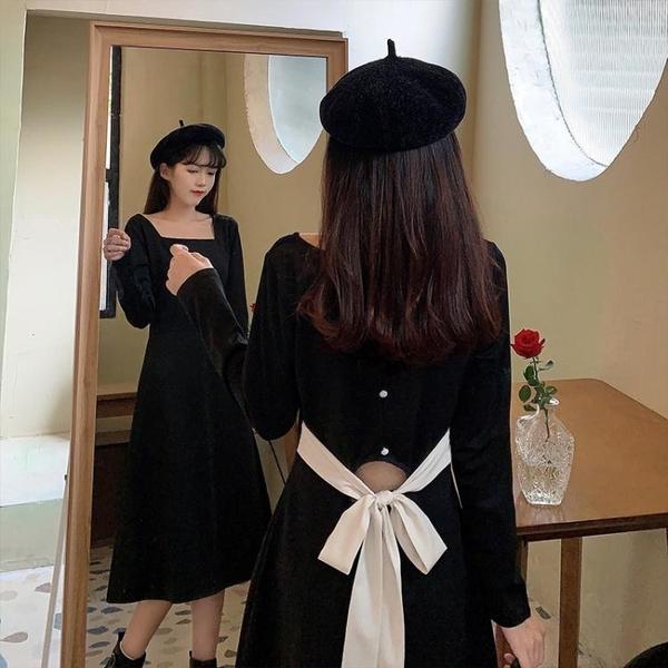 小心機露背綁帶連衣裙女秋季新款胖mm大碼復古長袖顯瘦方領小黑裙 大尺碼女裝