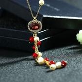 水晶毛衣鍊-珍珠氣質生日母親節禮物女項鍊4色73gc162【時尚巴黎】