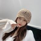 手勾鏤空帽子女春秋季針織可愛百搭洋氣貝雷帽網紅裝飾薄款包頭帽1 幸福第一站