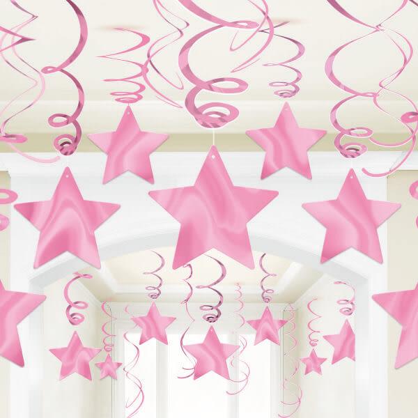 星星螺旋吊飾30入-甜心粉