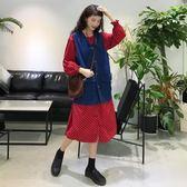 牛仔外套 秋季女裝韓版中長款寬鬆小清新氣質波點長袖連身裙長裙 牛仔馬甲【快速出貨】