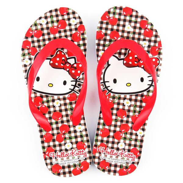 Hello Kitty夾腳拖 格紋櫻桃兒童夾腳拖鞋/夾腳拖/拖鞋/玩水/戲水/消暑 [喜愛屋]