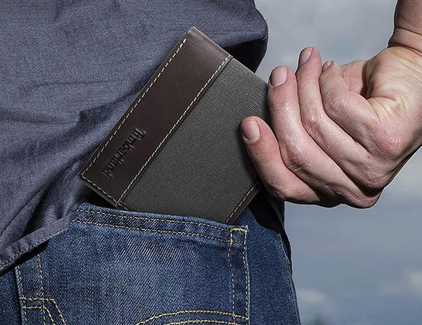 【Timberland】男皮夾 短夾 帆布 牛皮夾 多卡夾 大鈔夾 品牌盒裝/炭灰色