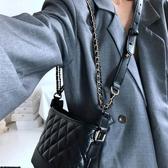 包包女包新款2020時尚菱格黑色流浪包復古簡約百搭鏈條單肩斜背包