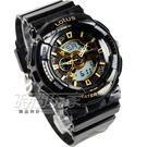 Lotus 時尚錶 流行雙顯示 電子錶 男錶 小錶面 矽膠錶帶 LS-1024-18黑金 時間玩家