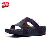 TOP 熱銷美鞋【FitFlop】MARLI H-BAR LEATHER SLIDES H型釘飾涼鞋-女(午夜藍)