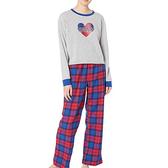 Tommy Hilfiger 女超舒適長袖/法蘭絨褲睡褲組(灰色/紅色藍色格 )
