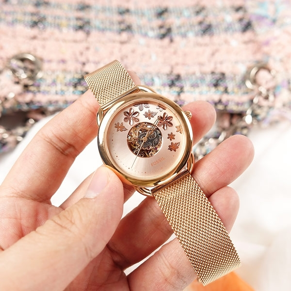 FOSSIL / ME3187 / Tailor 花卉時尚 機械錶 自動上鍊 鏤空 日本機芯 米蘭編織不鏽鋼手錶 鍍玫瑰金 34mm