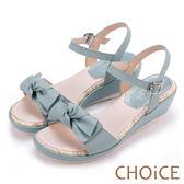 CHOiCE 甜美舒適 交叉蝴蝶結真皮楔型涼鞋-藍色