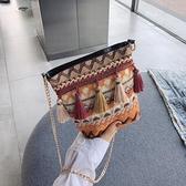 上新包包女2021新款韓版編織斜挎包chic流蘇民族風鏈條少女 「雙10特惠」