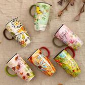 馬克盃子陶瓷盃咖啡盃茶盃 大容量創意潮流水盃帶蓋帶勺   LannaS