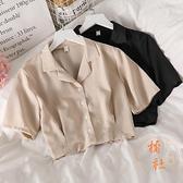 雪紡短袖襯衫女上衣短款夏季百搭小眾氣質【橘社小鎮】