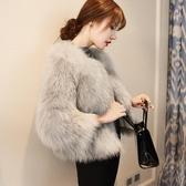 秋冬新款進口仿狐貍毛海寧皮草外套時尚百搭短款白狐坎毛皮草 城市科技