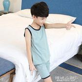 兒童睡衣 兒童睡衣男童睡衣薄款純棉中大童短袖家居服小孩背心套裝 傾城小鋪
