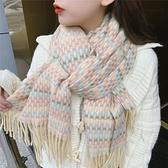 圍巾 正韓秋冬新款彩色編織款仿羊絨圍巾格子披肩兩用保暖學生圍脖【快速出貨】