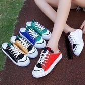 特賣半拖鞋無后跟帆布鞋女半拖鞋板鞋踩腳布鞋新款懶人鞋拖鞋半托小白鞋韓流時裳
