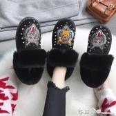 豆豆鞋女2019新款冬季網紅毛毛鞋加絨保暖棉鞋百搭一腳蹬懶人鞋女 西城故事