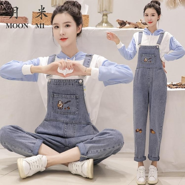 吊帶褲 可愛小個子學院風直筒寬鬆新款牛仔連體褲女 琪朵市集