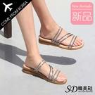 韓國空運 耀眼水鑽細帶線條 3CM厚底坡跟 優雅氣質涼拖鞋【F713274】版型正常/SD韓美鞋