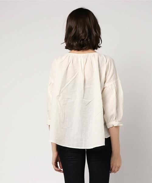 「Hot item」胸前抓皺綁帶襯衫上衣 (提醒-SM2僅單一尺寸) - Sm2