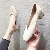 網紅方跟新款女夏天套腳單鞋韓版方頭百搭粗跟純色休閒女瓢鞋 瑪麗蘇