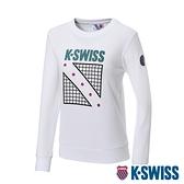 K-SWISS North Court Sweatshirt圓領長袖上衣-女-白