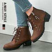 踝靴-MIT英倫風綁帶麂皮側拉踝靴