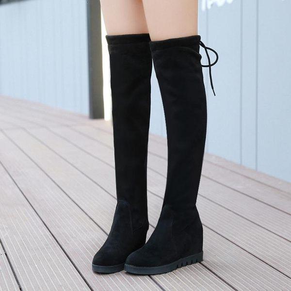 膝上靴 女士長筒靴子秋季新款韓版秋冬內增高學生絨面彈力過膝靴仙女  魔法鞋櫃